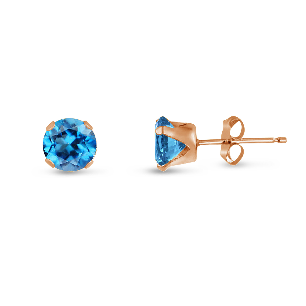 87f9b1806 Genuine Swiss Blue Topaz Round Stud Earrings in Rose Gold over Silver