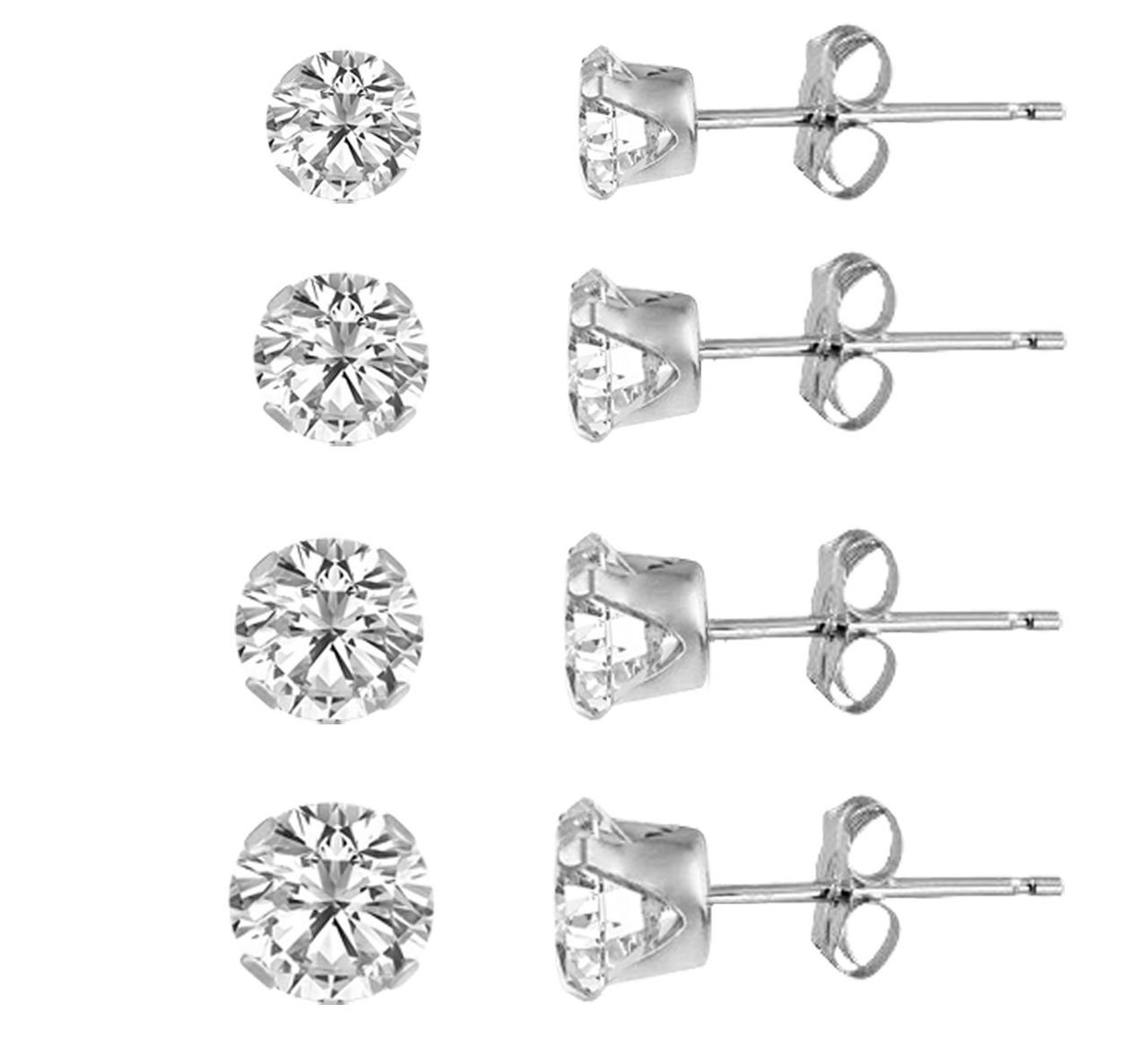 557b12e97 KEZEF Sterling Silver 925 Round Clear Cubic Zirconia Stud Earring set (4  Pairs) 3mm, 4mm, 5mm, ...