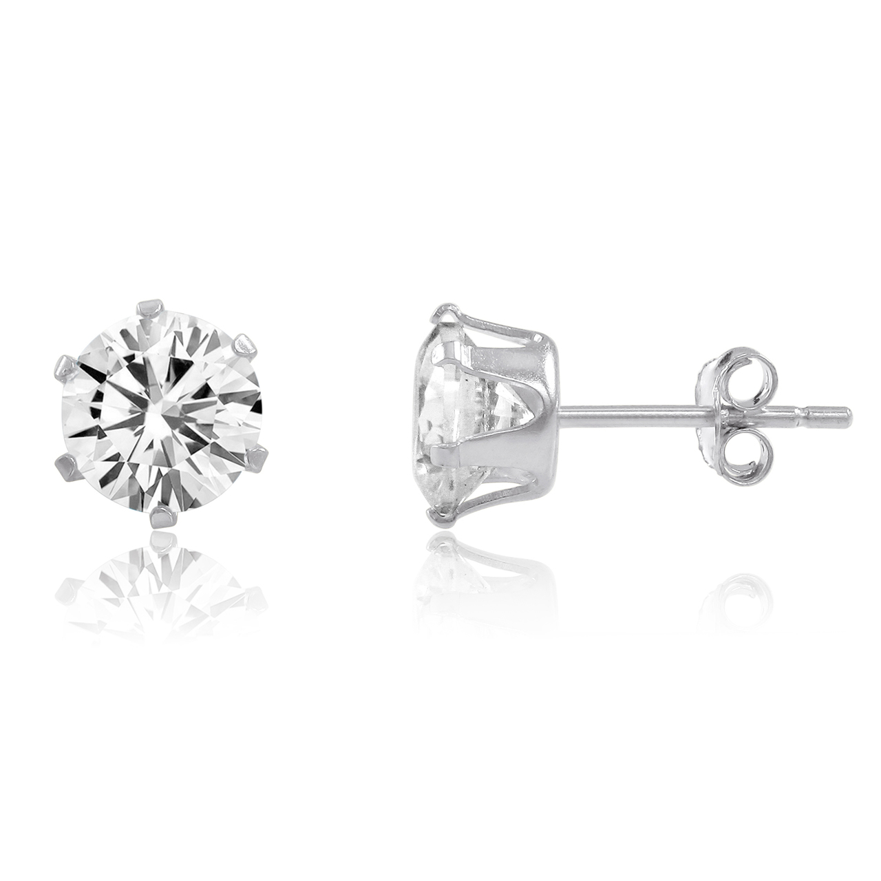 4e9af66b69 1ct White CZ 5.25mm .925 Sterling Silver Stud Earrings Brilliant Round Cut