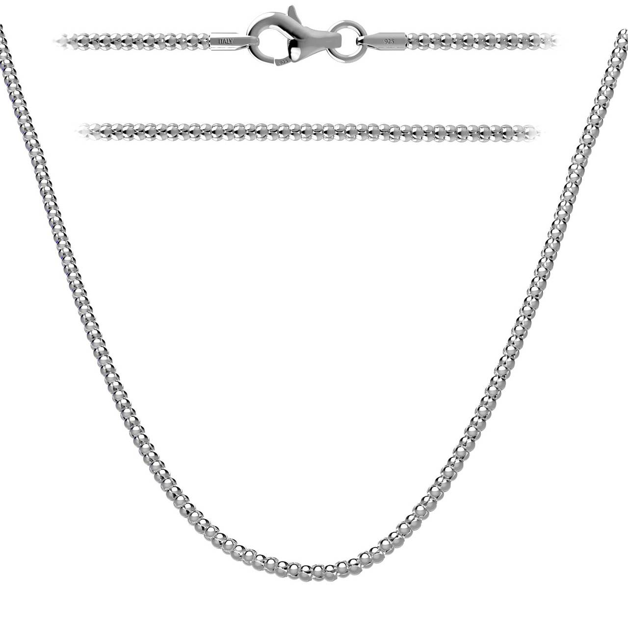 925 Sterling Silver Black Rhodium Plated Snake Solid Link Chain Necklace Italy