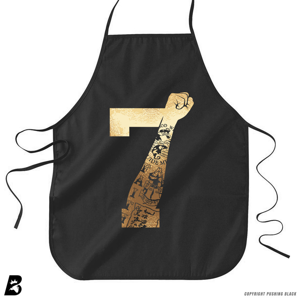 '7 Fist Up High - Gold with Tattoo' Premium Canvas Kitchen Apron