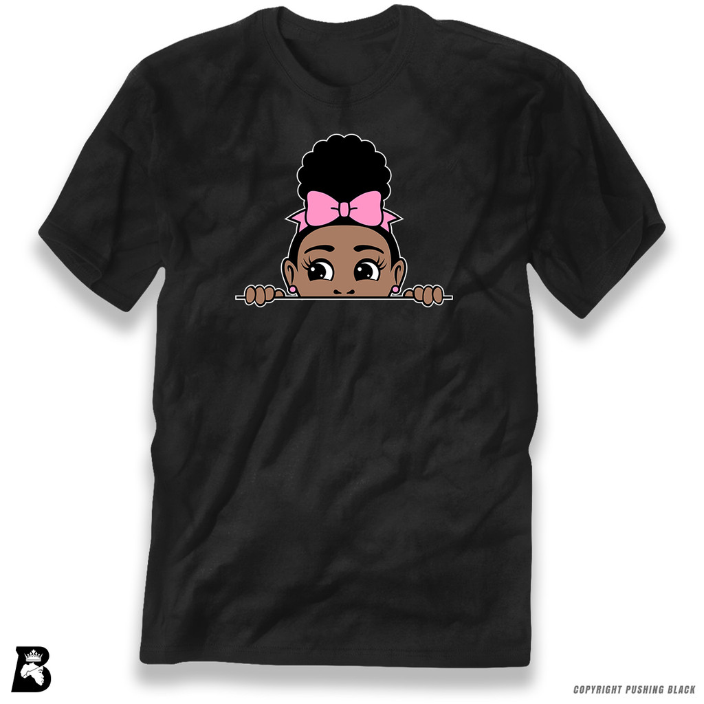 'Afro Puff with Bow - Peek-A-Boo' Premium Unisex T-Shirt