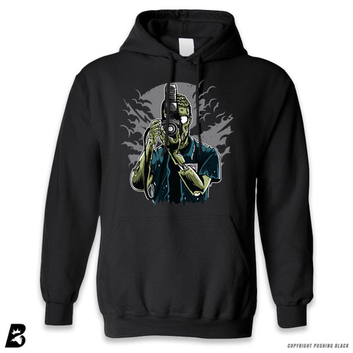 "'""Say Brains"" Zombie Photographer ' Premium Unisex Hoodie with Pocket"