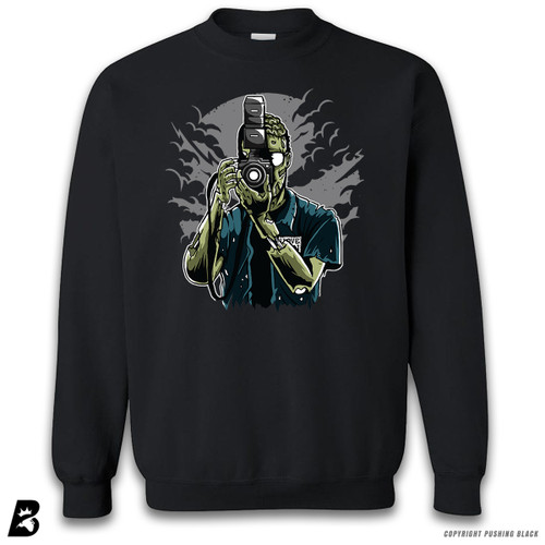 "''""Say Brains"" Zombie Photographer ' Premium Unisex Sweatshirt"
