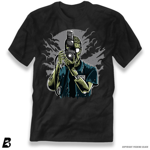 "'""Say Brains"" Zombie Photographer ' Premium Unisex T-Shirt"