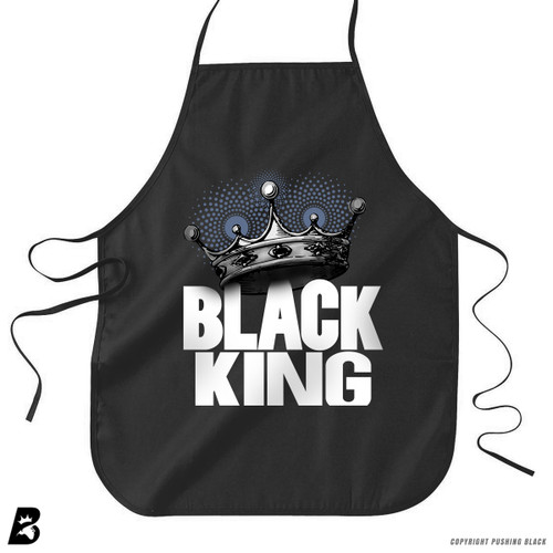 'Black King with Crown' Premium Canvas Kitchen Apron