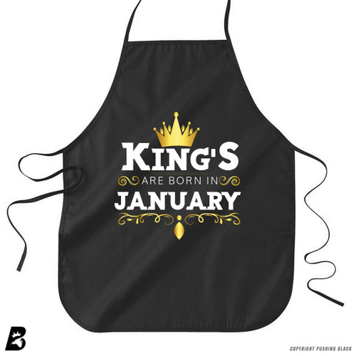 'King's Are Born In January' Premium Canvas Kitchen Apron