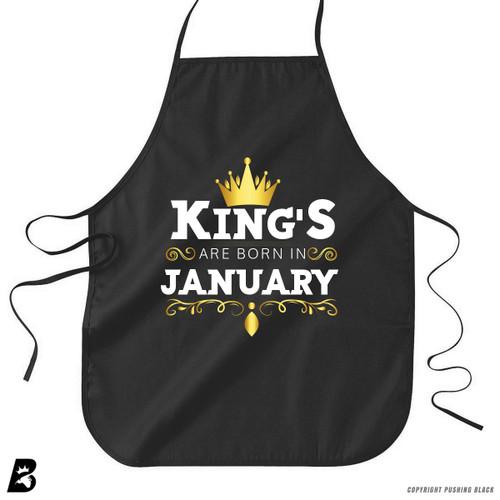'King's Are Born In January' Premium Canvas Kitchen Apron