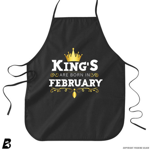 'King's Are Born In February' Premium Canvas Kitchen Apron