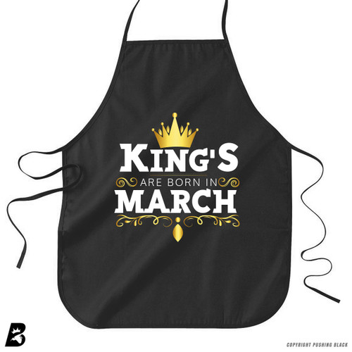 'King's Are Born In March' Premium Canvas Kitchen Apron