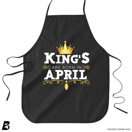 'King's Are Born In April' Premium Canvas Kitchen Apron