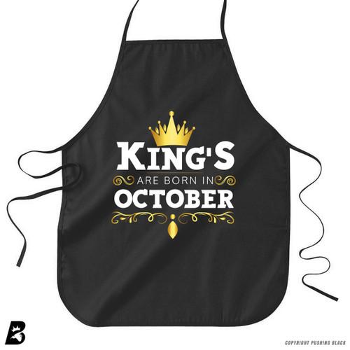 'King's Are Born In October' Premium Canvas Kitchen Apron