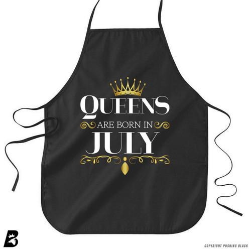 'Queen's Are Born In July' Premium Canvas Kitchen Apron