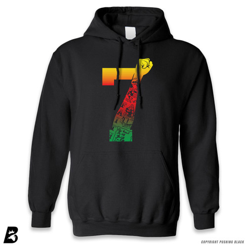'7 Fist Up High - Garvey Gradient with Tattoo' Premium Unisex Hoodie with Pocket