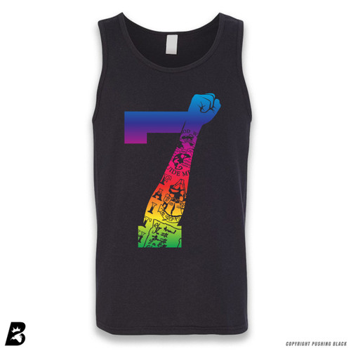 '7 Fist Up High - Rainbow with Tattoo' Sleeveless Unisex Tank Top