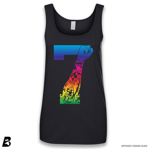 '7 Fist Up - Rainbow with Tattoo' Sleeveless Ladies Tank Top