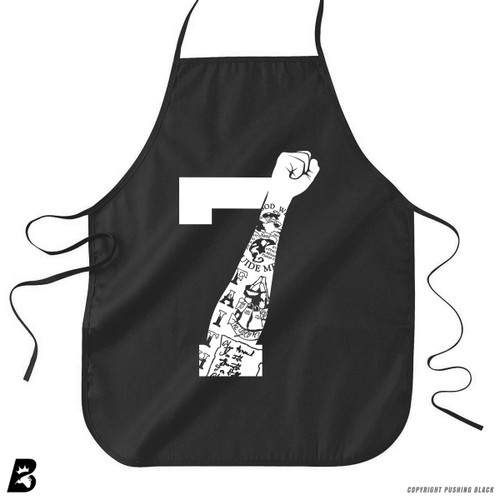 '7 Fist Up High - White with Tattoo' Premium Canvas Kitchen Apron