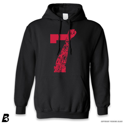 '7 Fist Up High - Scarlet with Tattoo' Premium Unisex Hoodie with Pocket