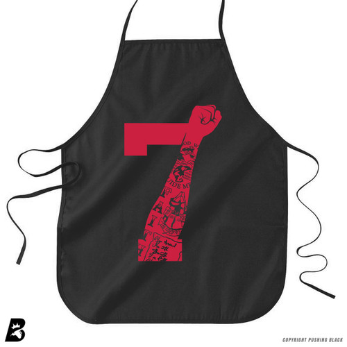 '7 Fist Up High - Scarlet with Tattoo' Premium Canvas Kitchen Apron