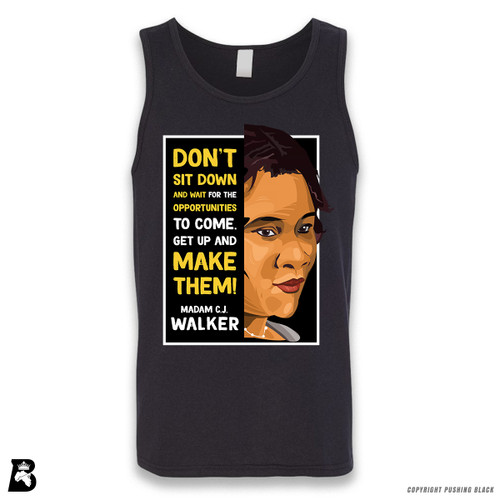 'The Legacy Collection - Madam C.J. Walker 'Don't Sit Down and Wait for the Opportunities'' Sleeveless Unisex Tank Top