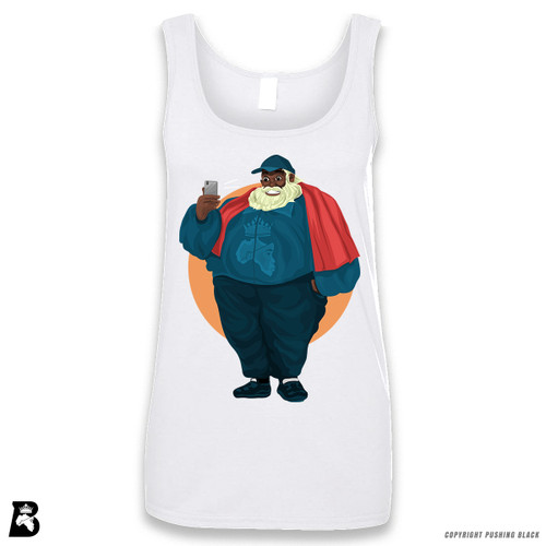 'Black Santa Taking Selfie' Sleeveless Ladies Tank Top