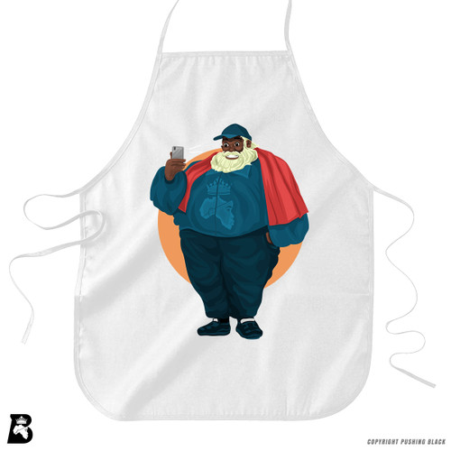 'Black Santa Taking Selfie' Premium Canvas Kitchen Apron