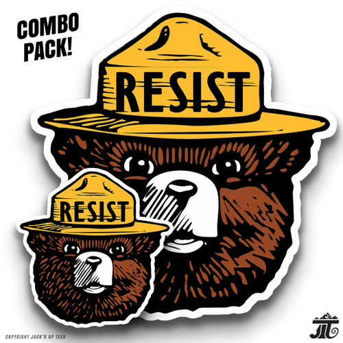 "'RESIST' Smokey the Bear 3"" + 5.5"" Car Window / Macbook / Laptop Decals - COMBO PACK"