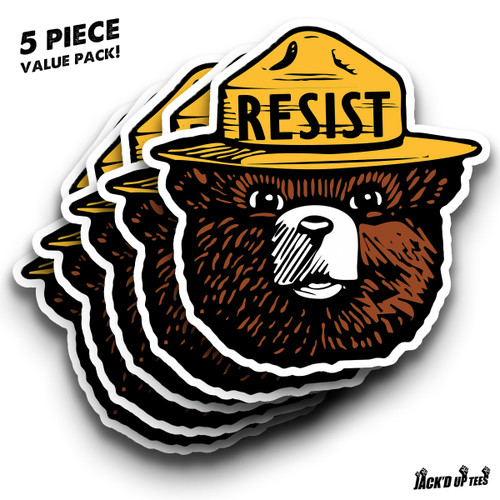 "'RESIST' Smokey the Bear 5.5"" Car Window Decal - X5 VALUE PACK"