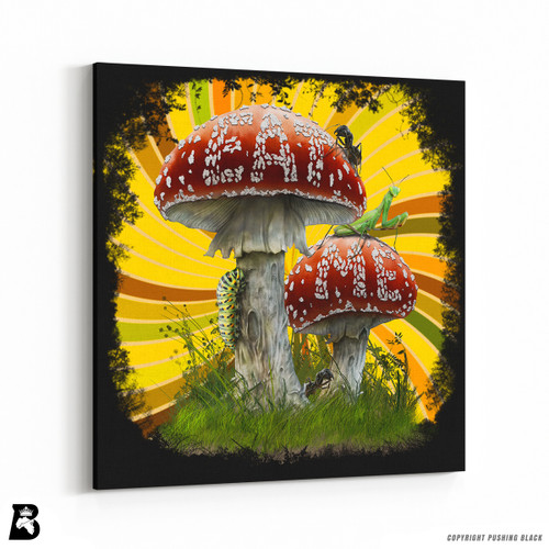 'Psychedelic Mushrooms 'Eat Me'' Premium Wall Canvas