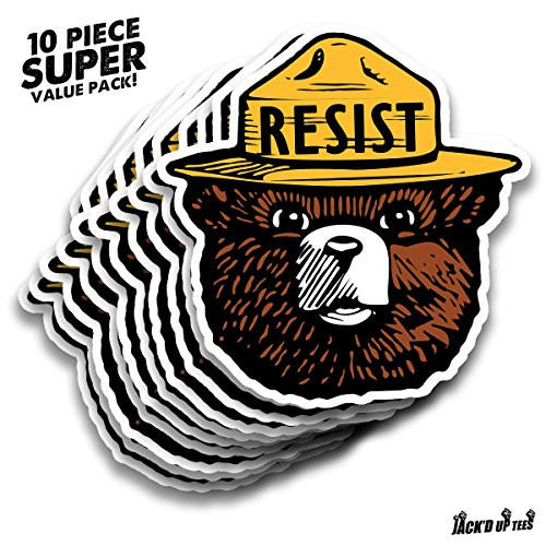 "'RESIST' Smokey the Bear 5.5"" Car Window Decal - X10 VALUE PACK"
