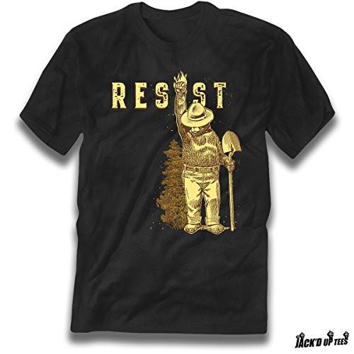 'Resist' Smokey the Bear Premium Tee - Shovel Up w/ Faded Trees - Never Trump