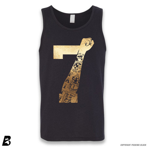 '7 Fist Up High - Gold with Tattoo' Sleeveless Unisex Tank Top