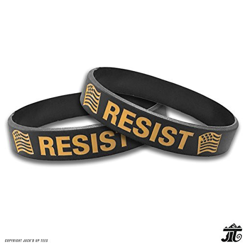 'RESIST' Silicone Wristbands with Flags - 2 PACK