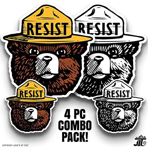 RESIST' Smokey the Bear Window / Macbook / Laptop Decals - 4 PIECE MULTI-PACK