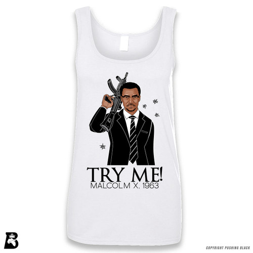 'Malcolm Shabazz - Try Me 1963' Sleeveless Ladies Tank Top