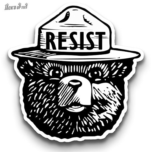 "'RESIST' Smokey the Bear 3"" Macbook / Laptop Decal (Black & White)"