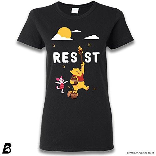 'Resist' Winnie The Pooh Bear and Piglet Premium Ladies T-Shirt (Small, Black)