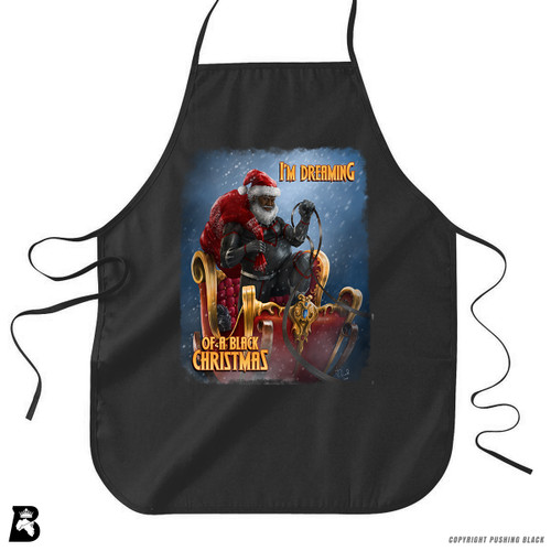 "'Black Santa - ""Christmas Forever""' Premium Canvas Kitchen Apron"