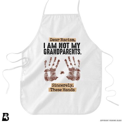 """'Dear Racism - """"I'm Not My Grandparents"""" - Handprints' Premium Canvas Kitchen Apron"""