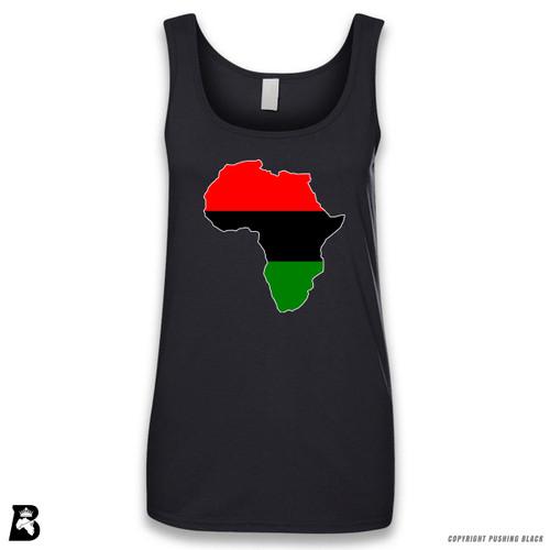 'Africa Map - Pan African Colors' Sleeveless Ladies Tank Top