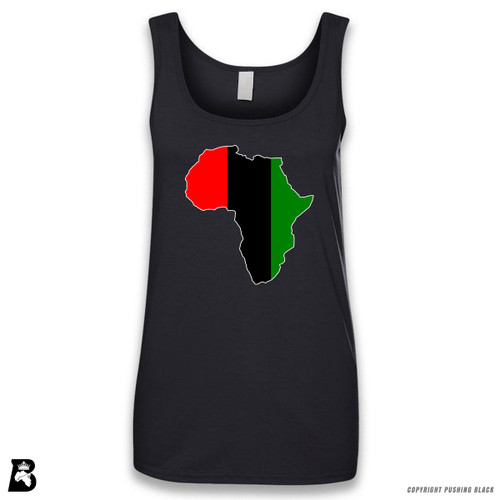 'Africa Map - Pan African Colors 2' Sleeveless Ladies Tank Top