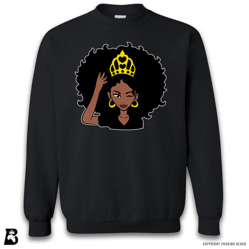 'Black Queen with Natural Hair and Crown' Premium Unisex Sweatshirt
