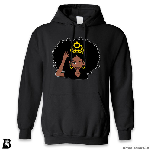 'Black Queen with Natural Hair and Crown' Premium Unisex Hoodie with Pocket