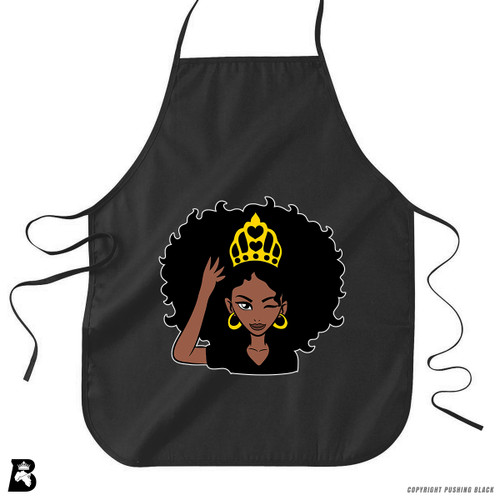 'Black Queen with Natural Hair and Crown' Premium Canvas Kitchen Apron