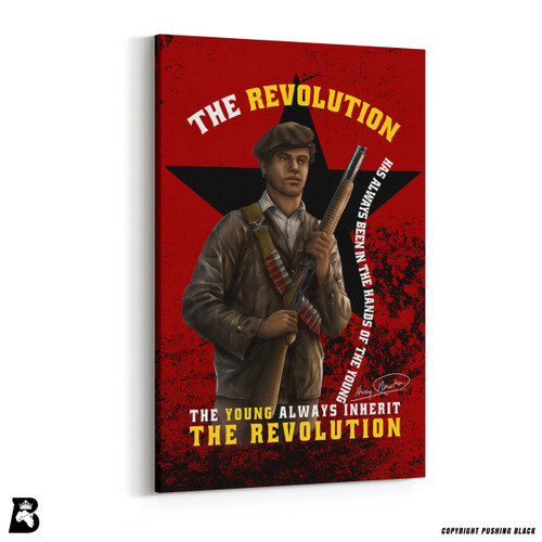 "'The Legacy Collection - Huey P. Newton with Gun ""The Revolution""' Premium Wall Canvas"