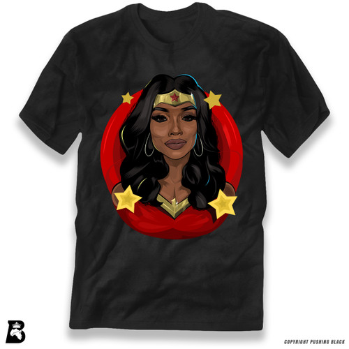 'Black Woman of Wonder - Red Background' Premium Unisex T-Shirt