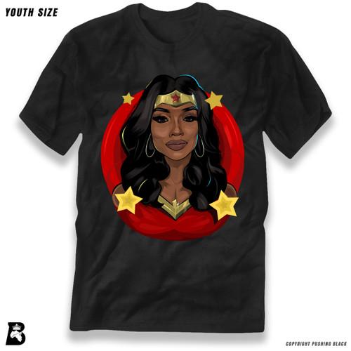 'Black Woman of Wonder - Red Background' Premium Youth T-Shirt