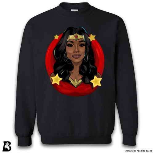 'Black Woman of Wonder - Red Background' Premium Unisex Sweatshirt