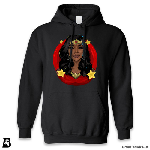 'Black Woman of Wonder - Red Background' Premium Unisex Hoodie with Pocket