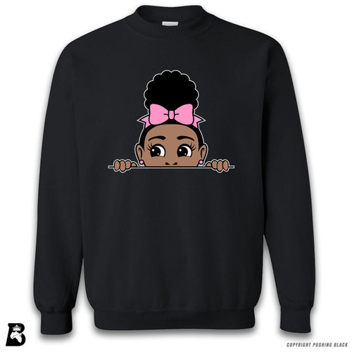 'Afro Puff with Bow - Peek-A-Boo' Premium Unisex Sweatshirt